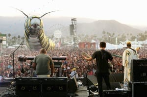 INDIO, CA - APRIL 17: Papilio Merraculous art installation by Poetic Kinetics watches as Alabama Shakes perform during day 1 of the 2015 Coachella Valley Music And Arts Festival (Weekend 2) at The Empire Polo Club on April 17, 2015 in Indio, California. (Photo by Karl Walter/Getty Images for Coachella)